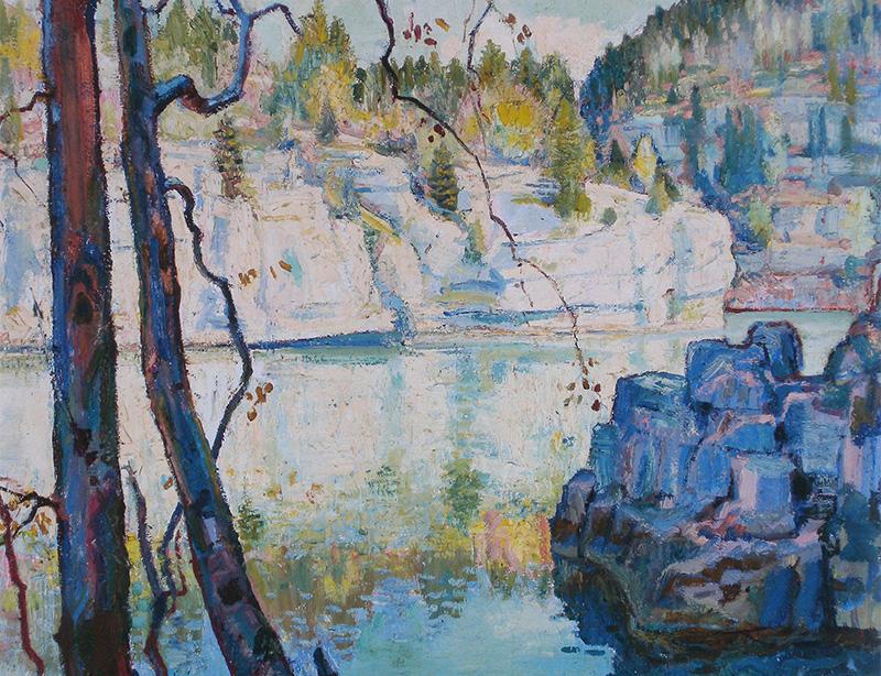 Charles L'Eplattenier (1874 – 1946) Le Doubs, premier printemps (Le mai sur la roche de l'Echo),1943 (Collection Musée d'art et d'histoire Neuchâtel)