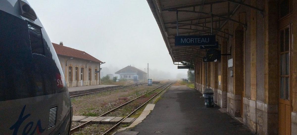©Marcel Schiess, la gare de Morteau à 08:37