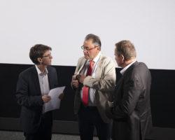 Marcel Schiess, Forum Transfrontalier, Thierry Grosjean, Président de SFMC, Alain Sapin, Directeur énergie électrique, Groupe E / © Maciej Czepiel